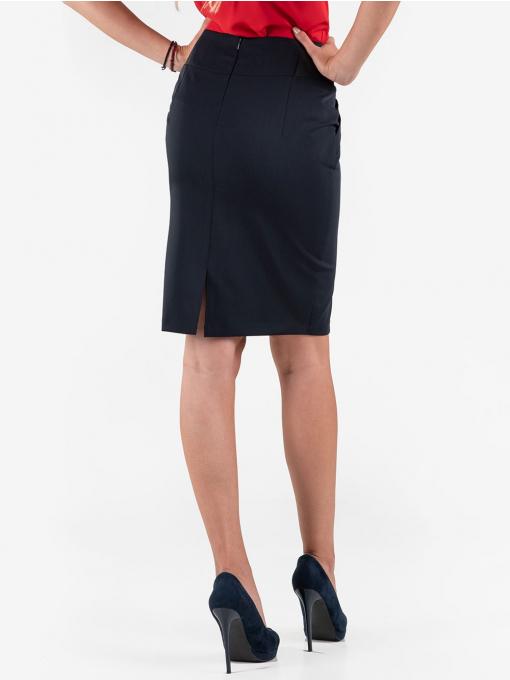 Елегантна пола F.L.M с висока талия - тъмносиня 246 INDIGO Fashion