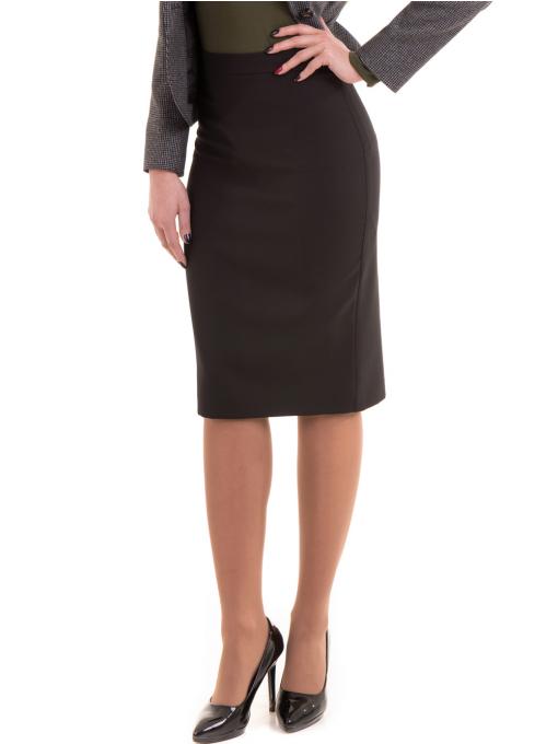 Вталена пола с висока талия F&K 1154 - черна