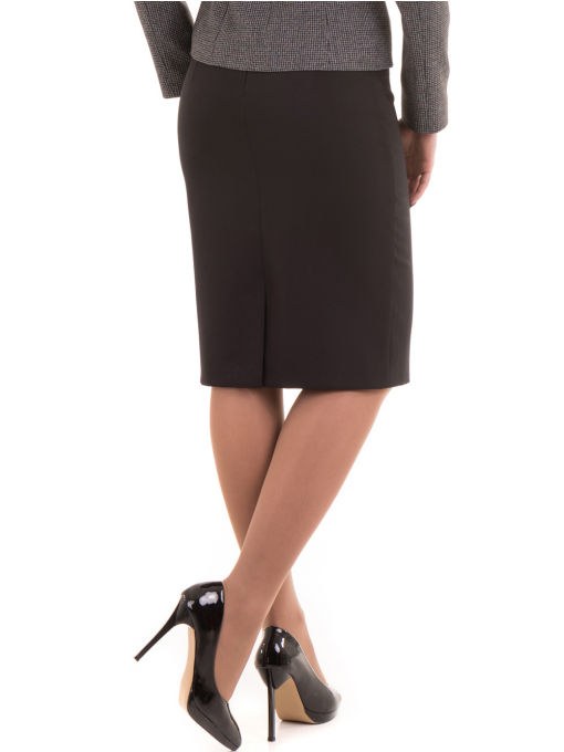 Вталена пола с висока талия F&K 1154 - черна B