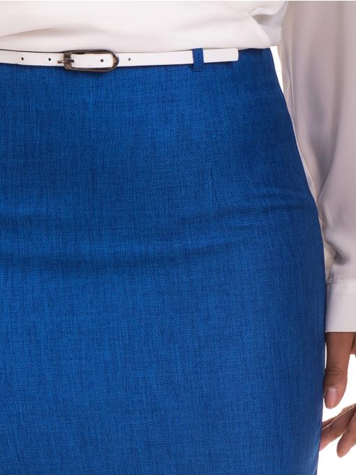 Елегантна пола SELEN с колан 83517 - турско синя D
