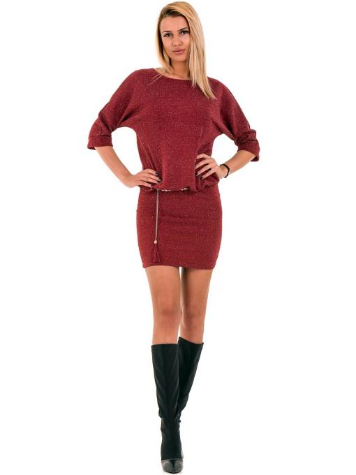 Елегантна рокля F&K 3096 с колан - червена C