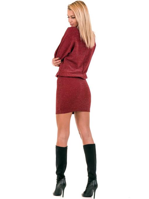 Елегантна рокля F&K 3096 с колан - червена E