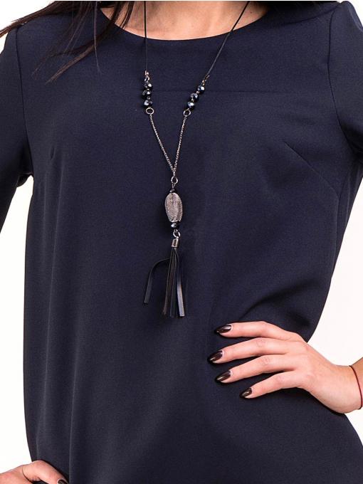 Рокля MACCA с дантела на ръкавите - тъмно синя 809 INDIGO Fashion