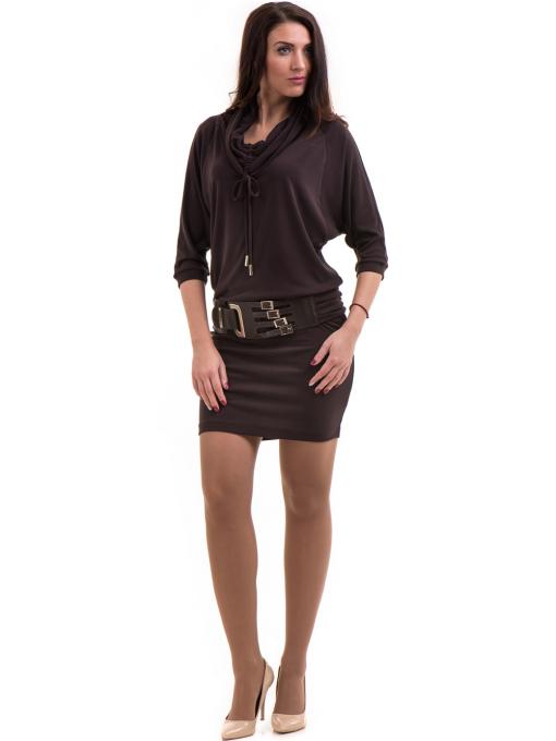 Рокля от финно плетиво с колан - кафява B924 INDIGO Fashion