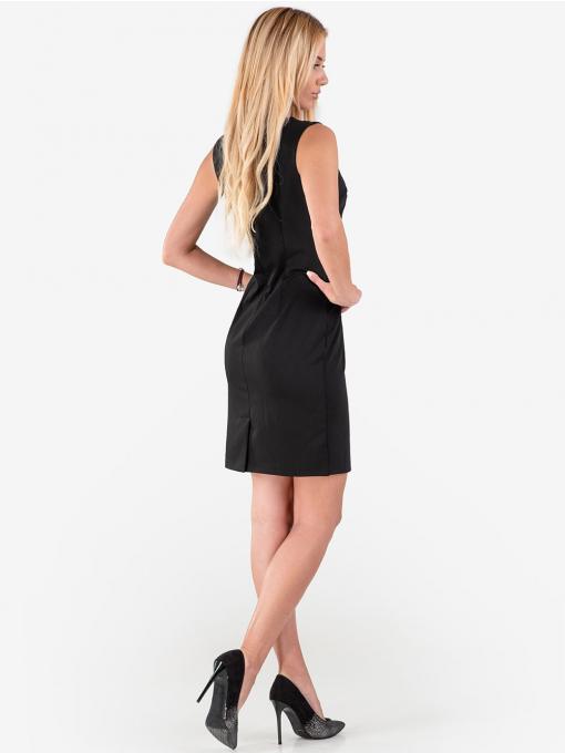 Черна вталена рокля без ръкави R1224 INDIGO Fashion