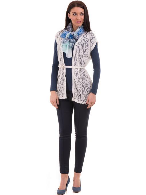 Дамска вталена блуза XINT 093 - синя C1