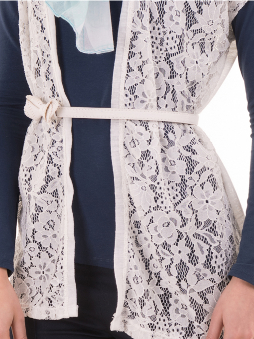 Елегантна дамска жилетка с дантела  BUTELLA 103 - цвят екрю D