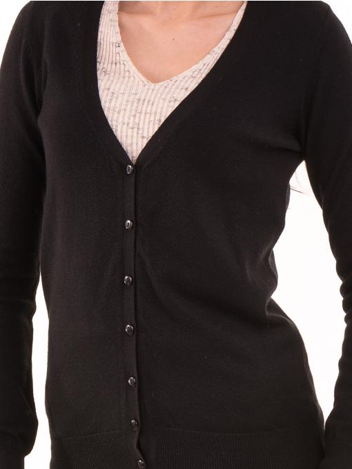 Дамска жилетка фино плетиво JOY MISS 14204 - черна D