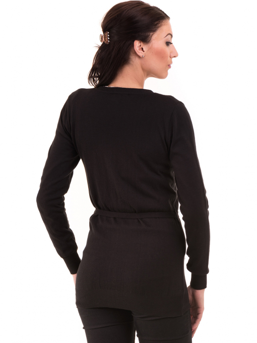 Дамска жилетка с колан MISS POEM 486 - черна B