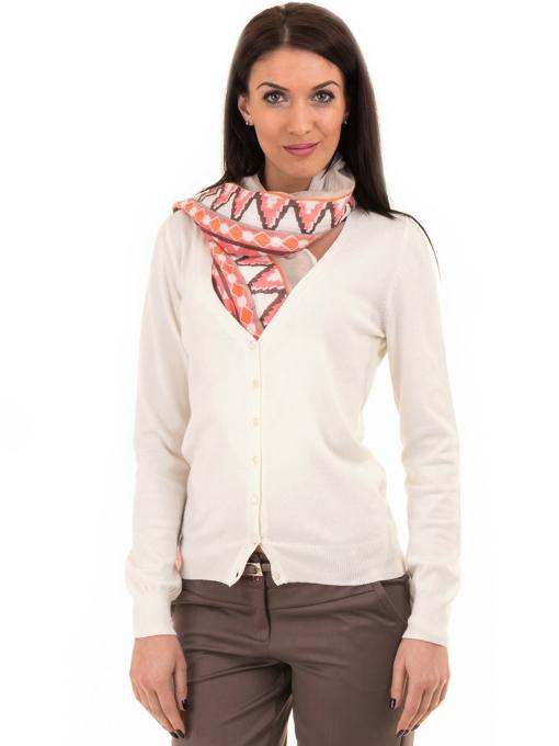 Дамска жилетка фино плетиво STAMINA 13204 - цвят екрю