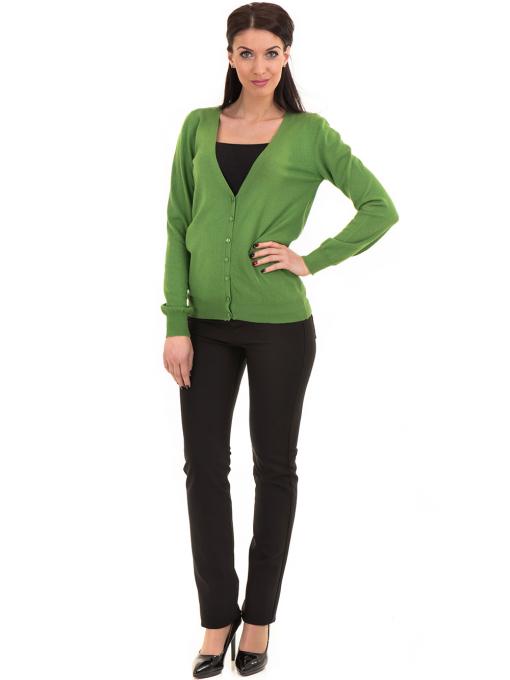 Дамска жилетка фино плетиво STAMINA  13204 - зелена C