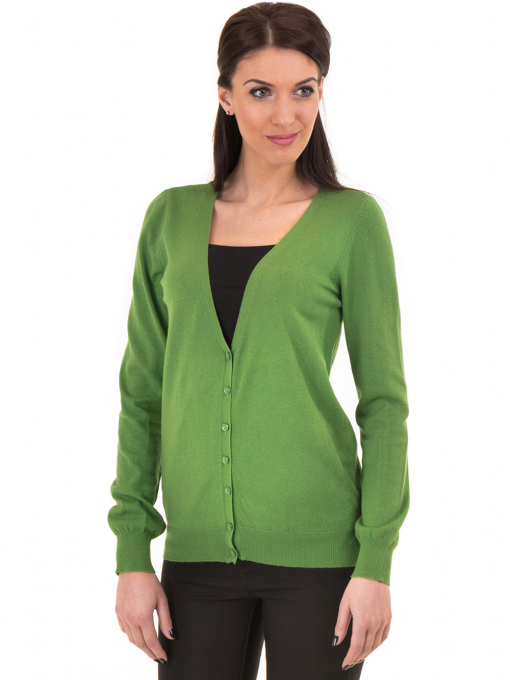 Дамска жилетка фино плетиво STAMINA  13204 - зелена