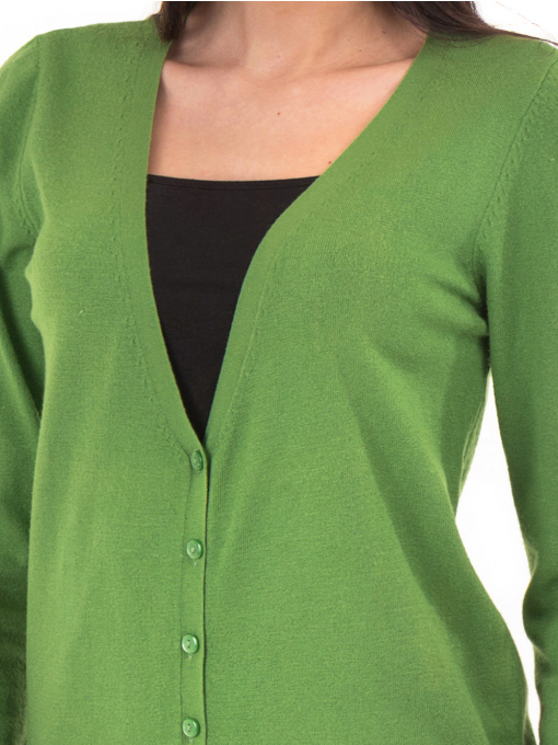 Дамска жилетка фино плетиво STAMINA  13204 - зелена D