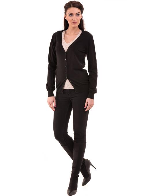 Дамска жилетка фино плетиво STAMINA 13204 - черна C