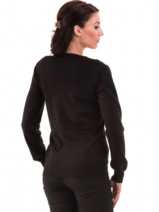 Дамска жилетка фино плетиво STAMINA 13204 - черна B