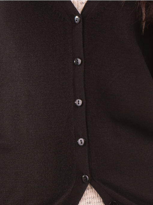 Дамска жилетка фино плетиво STAMINA 13204 - черна D