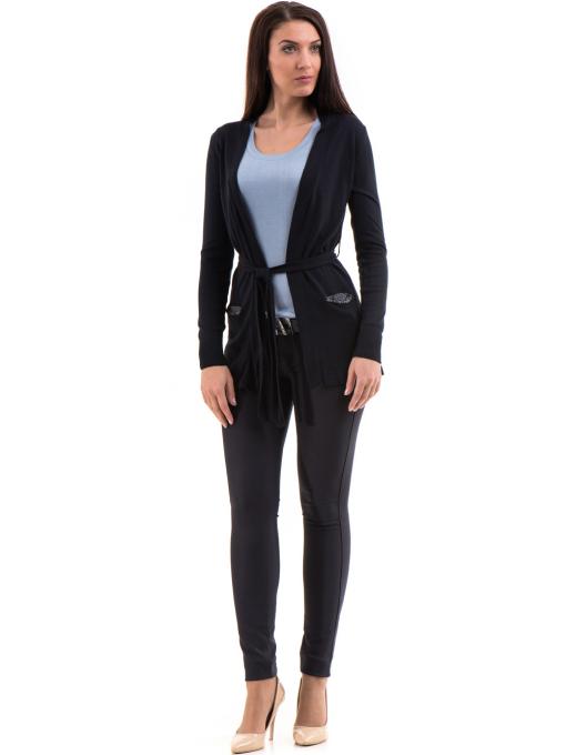 Дамска жилетка фино плетиво с колан XINT 136 - тъмно синя C