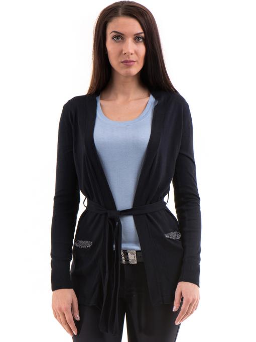 Дамска жилетка фино плетиво с колан XINT 136 - тъмно синя