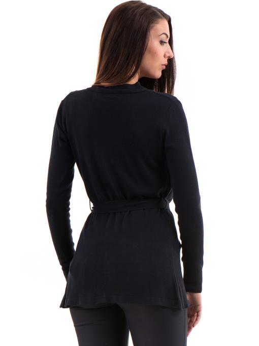 Дамска жилетка фино плетиво с колан XINT 136 - тъмно синя B