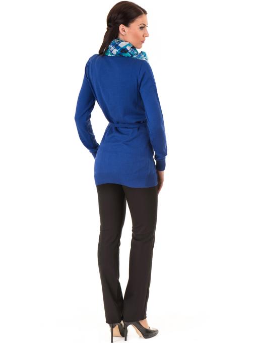 Дамска жилетка с колан MISS POEM 486 - синя E