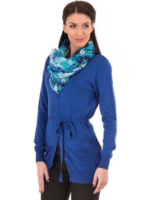 Дамска жилетка с колан MISS POEM 486 - синя