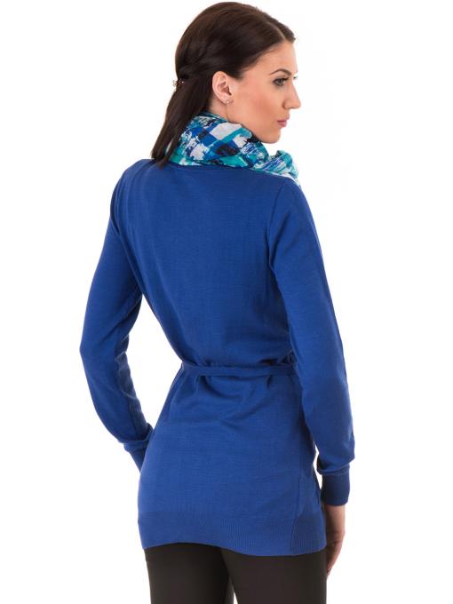 Дамска жилетка с колан MISS POEM 486 - синя B
