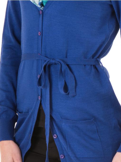 Дамска жилетка с колан MISS POEM 486 - синя D