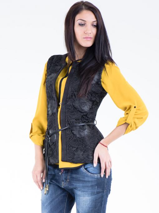Дамски елек с флорални мотиви SELEN 12035 - черен