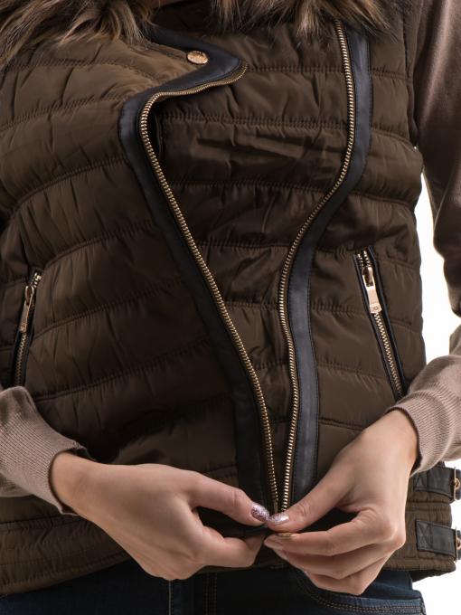 Дамски елек с яка XINT 181 - цвят каки  D1