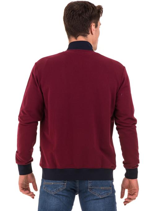 Мъжки суитчър с висока яка CAPORICCO B7672 - цвят бордо- големи размери B