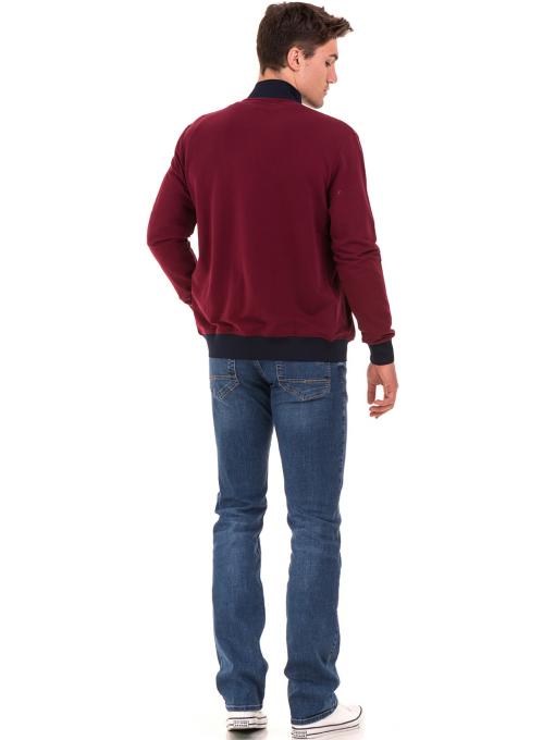 Мъжки суитчър с висока яка CAPORICCO B7672 - цвят бордо- големи размери E