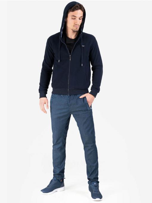 Мъжки суитчър с качулка в тъмно синьо 26310 INDIGO Fashion