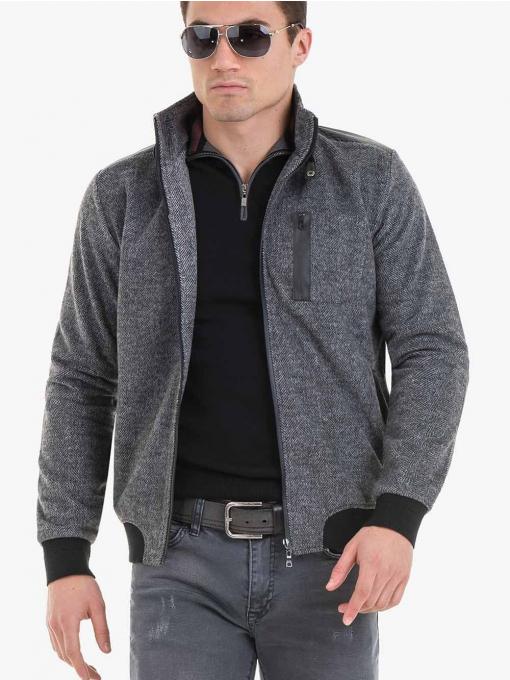 Мъжко яке с цип XINT 076 - сиво