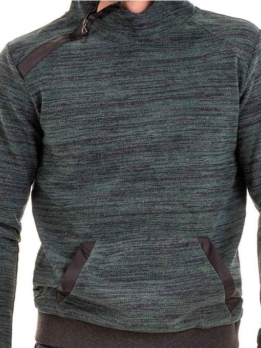 Мъжки суитчър с качулка XINT 092 - тъмно зелен D