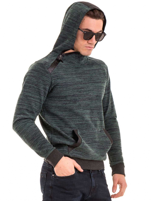 Мъжки суитчър с качулка XINT 092 - тъмно зелен