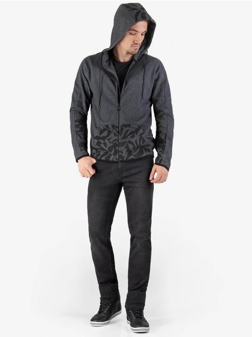 Мъжки сив суитчър в актуален десен 350101 INDIGO Fashion