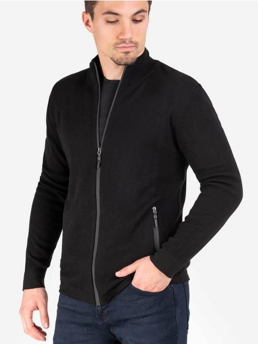 Мъжки черен суитчър с цип 801398 INDIGO Fashion