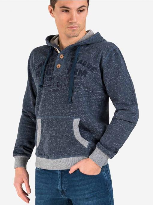 Мъжки суитчър с надпис и качулка - тъмносин 044 INDIGO Fashion