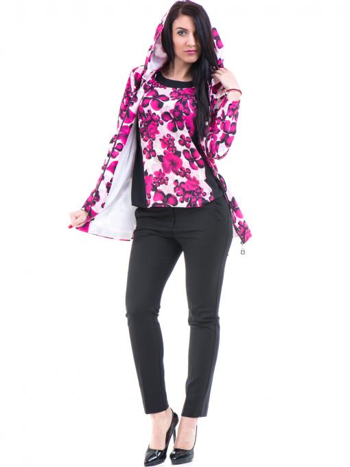 Дамска блуза с флорални мотиви JOY MISS 10431 - тъмно розова C1