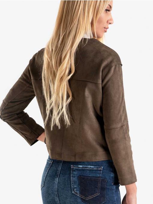 Късо дамско яке - цвят каки 78018 INDIGO Fashion