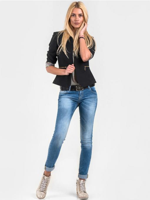 Накъсана дамска блуза на райе - цвят каки 601325 INDIGO Fashion