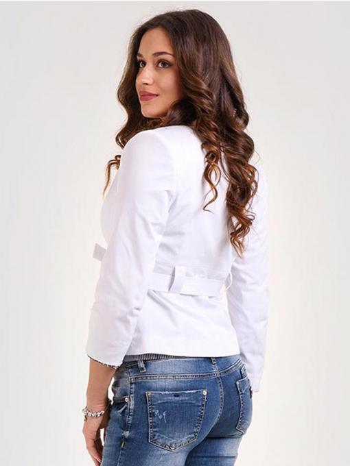 Дамско бяло сако с 7/8 ръкав и колан 1052 INDIGO Fashion