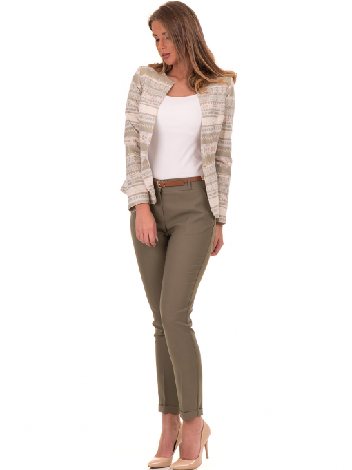 Дамски панталон ZANZI с колан 51107 - цвят каки C1
