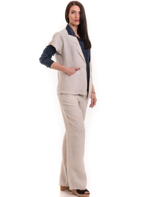 Дамски ленен панталон XINT 482 - светло бежов C1