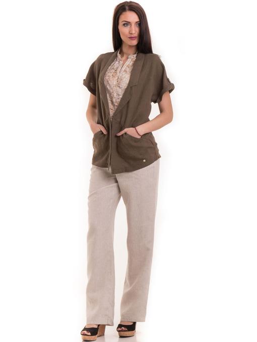 Дамски ленен панталон XINT 482 - светло бежов C2