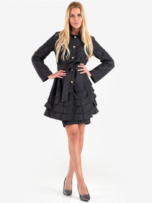 Черна класическа пола с колан 1102 INDIGO Fashion