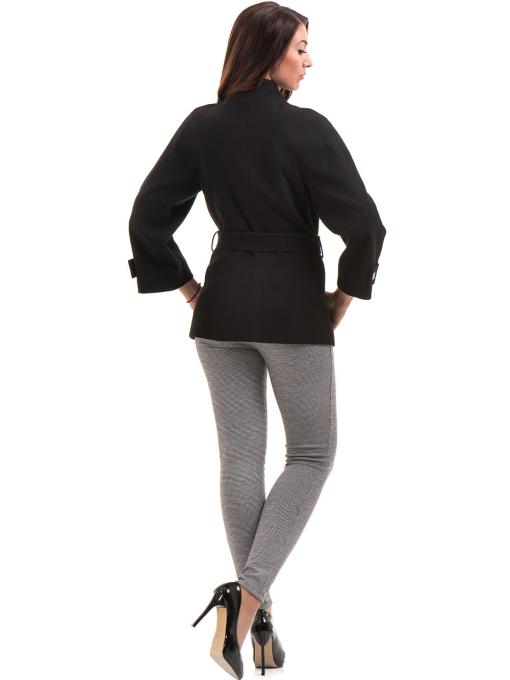 Елегантно късо дамско палто ICON с колан 9219 - черно E