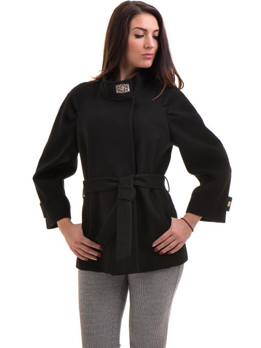 Елегантно късо дамско палто ICON с колан 9219 - черно