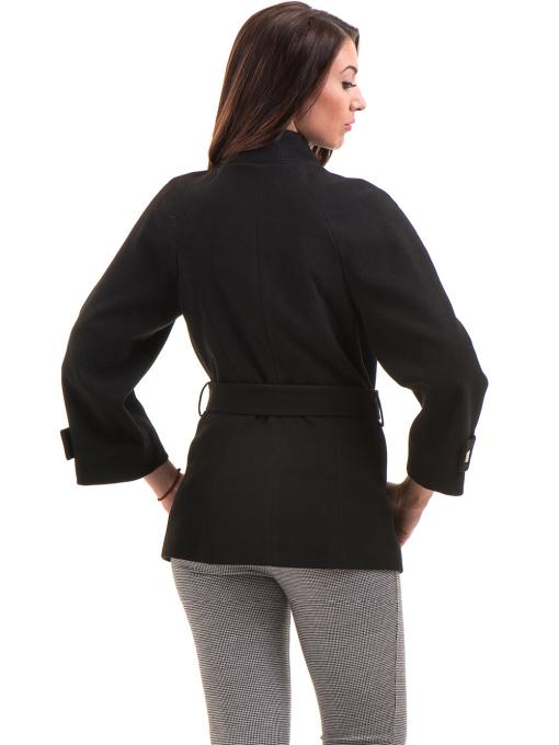 Елегантно късо дамско палто ICON с колан 9219 - черно B