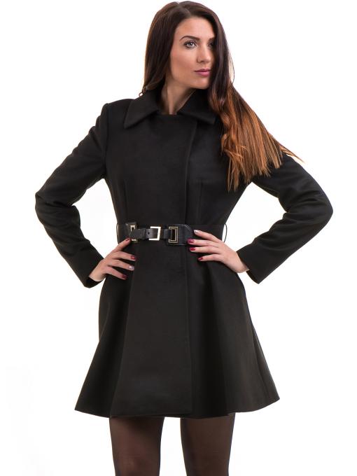 Елегантно дамско палто ICON с колан 9249 - черно
